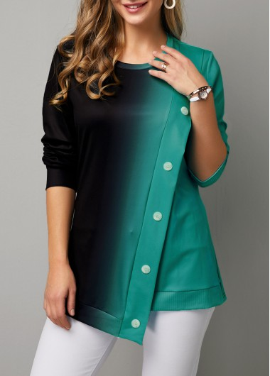Long Sleeve Button Detail Round Neck Sweatshirt - XL