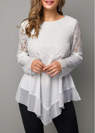 Lace Panel Asymmetric Hem Round Neck T Shirt - M