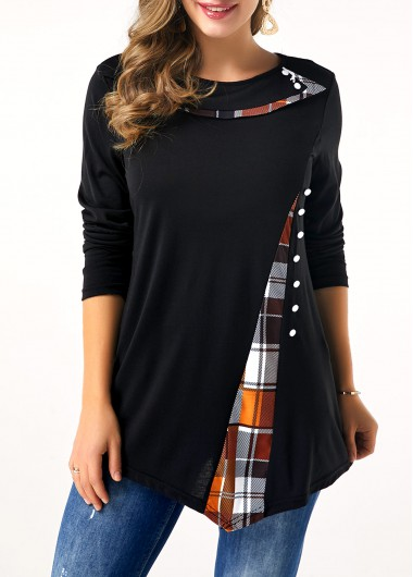 Button Detail Plaid Print Long Sleeve T Shirt - L