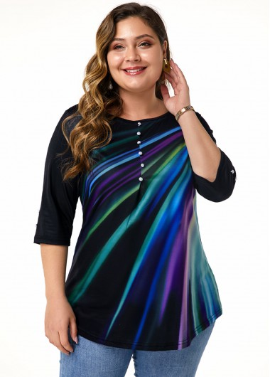 Plus Size Button Embellished Printed T Shirt - 0X