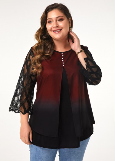 Plus Size Button Front Three Quarter Sleeve Blouse - 0X