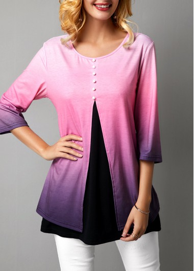Three Quarter Sleeve Button Front Gradient T Shirt - M