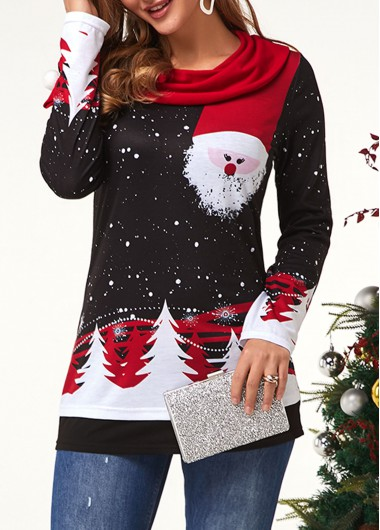 Christmas Shirt Santa Claus Print Top Red Cowl Neck Top Long Sleeve Shirt Black Top for Women - L
