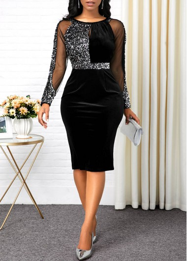 Black Long Sleeve Back Slit Bodycon Dress New Year Eve Party Dress Sequin Dress - L
