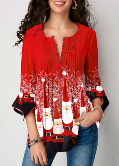Christmas Shirt Flare Cuff Top 3/4 Sleeve Top Red Top Crinkle Chest Blouse for Women - M