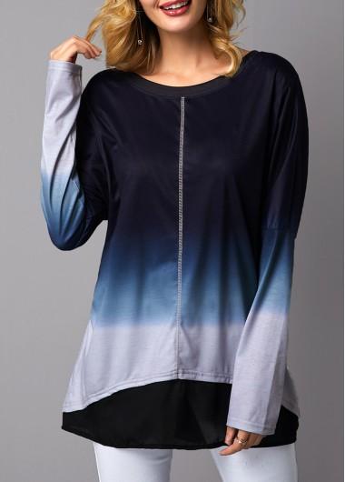 Long Sleeve Asymmetric Hem Round Neck T Shirt - L