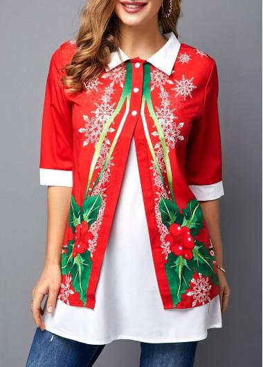 Christmas Top Red Half Sleeve Turndown Collar Blouse for Women - M