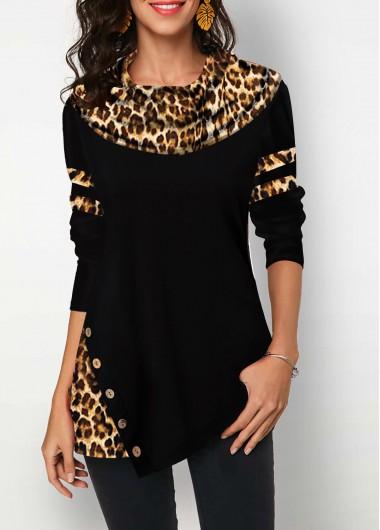 Leopard Print Shirt Long Sleeve Shirt Black Top Button Front Shirt for Women - L