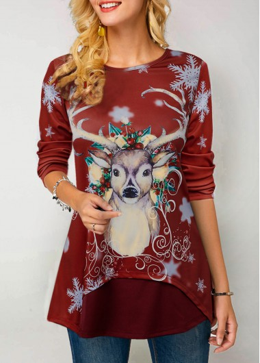Christmas Shirt Red Elk Print Round Neck Long Sleeve T Shirt for Women - M