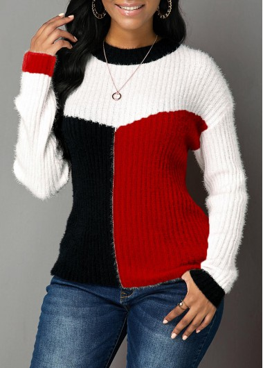 Red Long Sleeve Round Neck Sweater - L