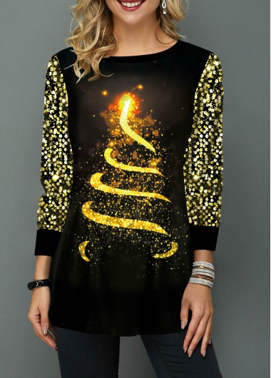 Christmas Tree Print Sequin Embellished T Shirt - M