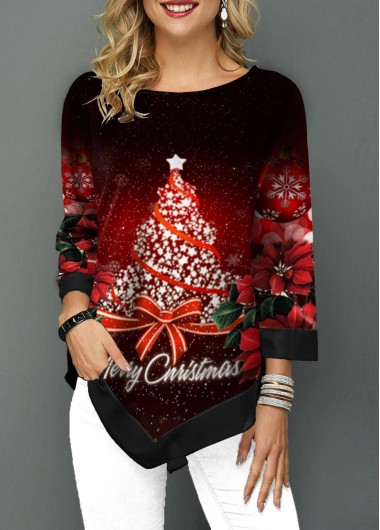 Christmas Tree Print Round Neck T Shirt - L
