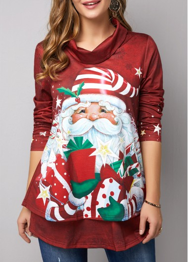 Christmas Sweater Santa Claus Print Top High Neck Cowl Neck Sweater Long Sleeve Sweater Wine Sweater for Women - L