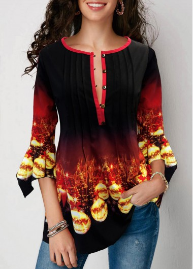 Christmas Top Printed Flare Cuff Gradient Blouse for Women - L