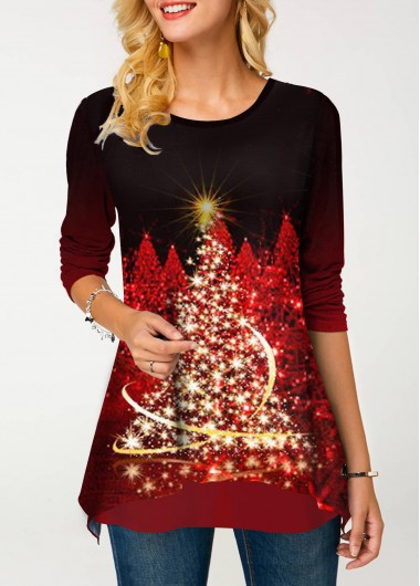 Christmas Tree Print Wine Red Long Sleeve Shirt Christmas Tree Print Round Neck T Shirt - L