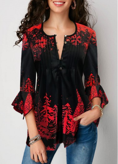 Red Tree Print Flare Cuff Crinkle Chest Christmas Shirt Casual Tunic Top - L