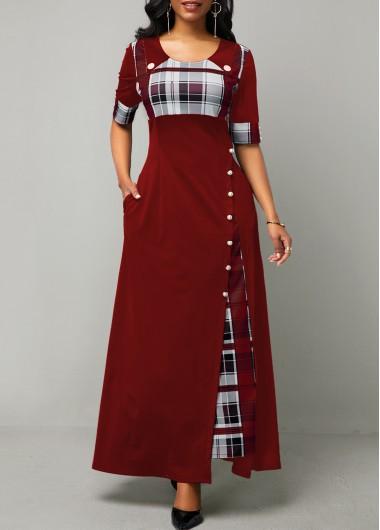 Plaid Print Button Detail Half Sleeve Maxi Dress - L