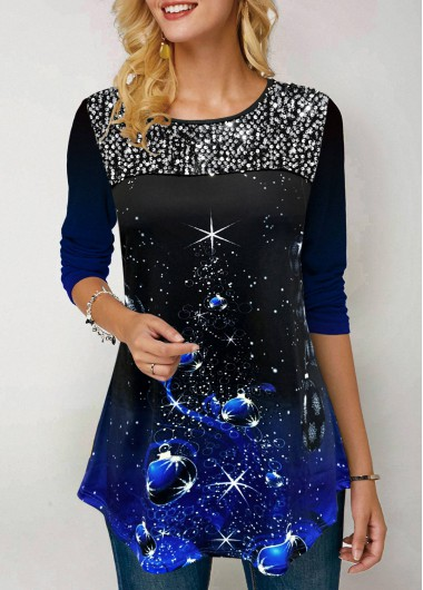 Christmas Shirt Sequin Embellished Top Long Sleeve Shirt Blue Top for Women - L