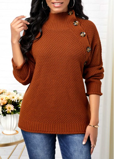 Button Detail High Neck Pullover Sweater - L