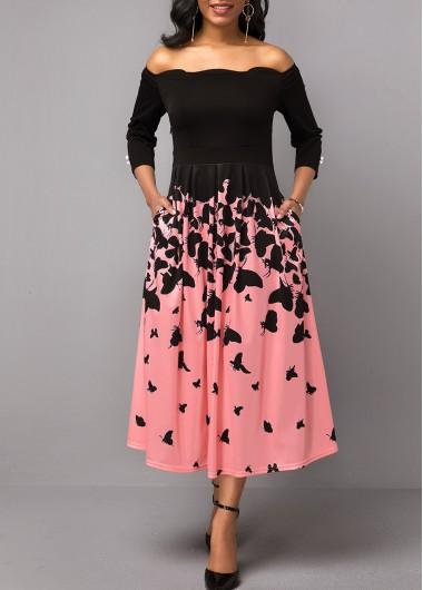 Butterfly Print Scalloped Hem Button Detail Dress - L