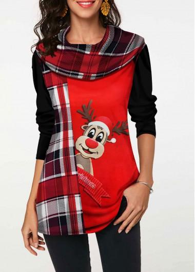 Christmas Shirt Elk And Plaid Print Top Long Sleeve Shirt Red Top Casual Shirt for Women - L