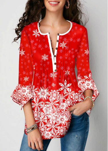 Floarl Print Crinkle Chest Button Front Blouse - L