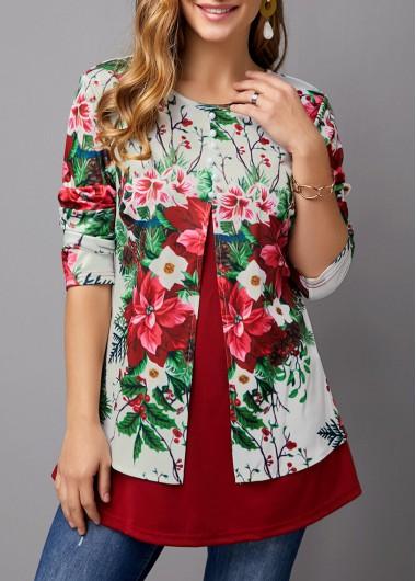 Flower Print Faux Two Piece T Shirt - M