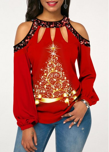 Red Tree Print Cold Shoulder Cut Out Neckline Sequin Detail Christmas Shirt Top for Women - L