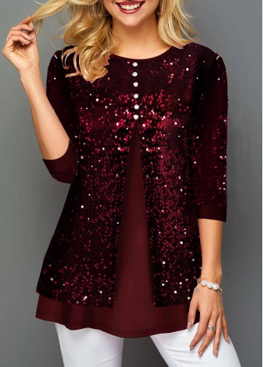 Wine Red Button Front 3/4 Sleeve Tunic Top Sequin Shirt New Year Eve Shirt Top - L