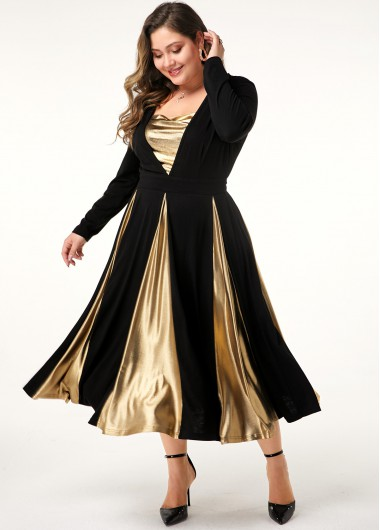 Plus Size Long Sleeve Contrast Panel Dress - 0X