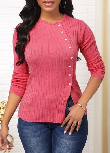 Button Detail Long Sleeve Side Slit Sweater - XL