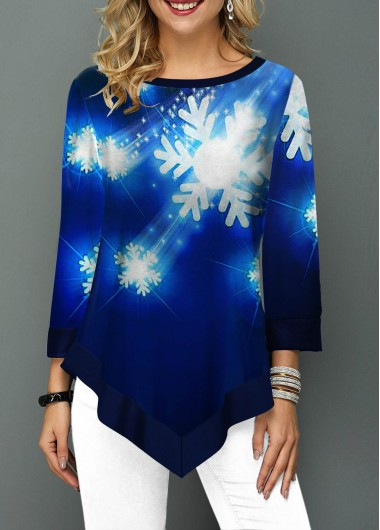 Snow Print Asymmetric Hem Round Neck T Shirt - M