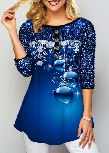 Sequin Embellished Button Detail Printed T Shirt - L
