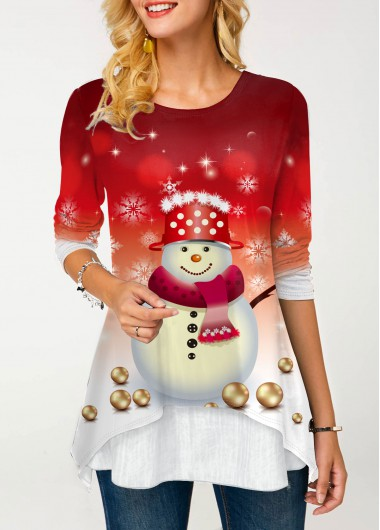 Snowman Print Long Sleeve Round Neck T Shirt - XL