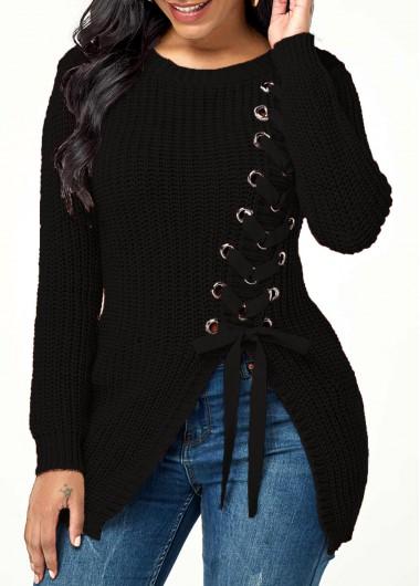 Lace Up Rib Knit Asymmetric Hem Sweater - L
