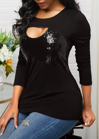Sequin Panel Long Sleeve Black T Shirt - M