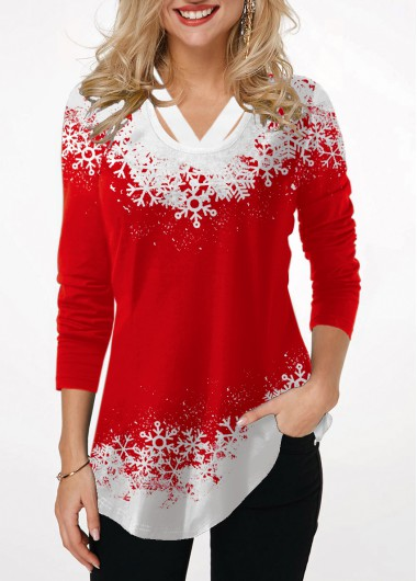 Red Long Sleeve Snowflake Print Casual Blouse Tunic Top - L