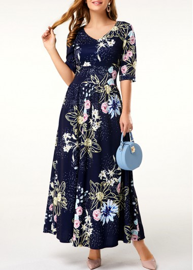 Half Sleeve V Neck Flower Print Maxi Dress - L