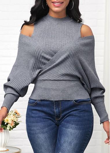 Cold Shoulder Long Sleeve Mock Neck Sweater - L