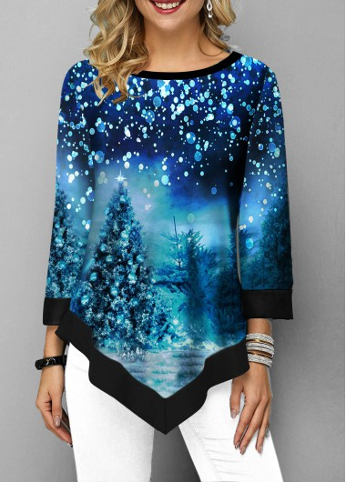 Asymmetric Hem Christmas Print Contrast Panel T Shirt - XL