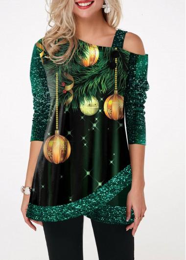 Green Printed One Cold Shoulder Half Sleeve Tulip Hem Sequin New Year Shirt Christmas Shirt - L