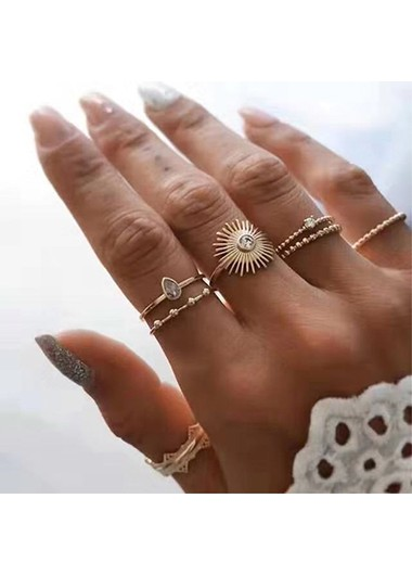 7pcs Rhinestone Detail Metal Materail Gold Rings - One Size
