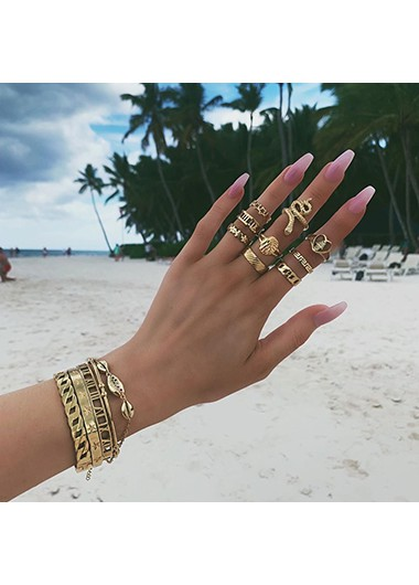 9pcs Various Shape Gold Metal Rings - One Size