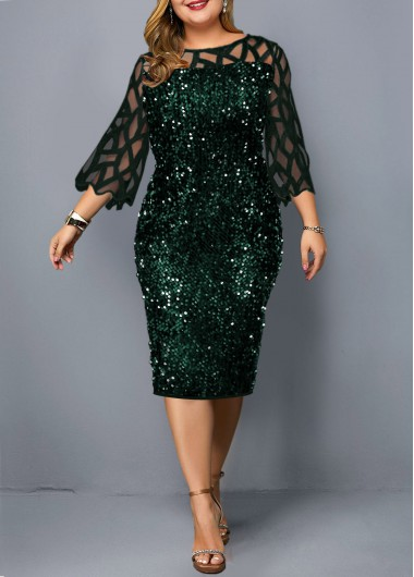Green Plus Size Dress 3/4 Sleeve Sequin Dress New Year Eve Party Dress - 0X