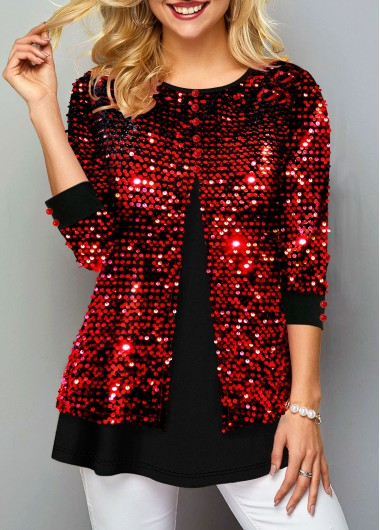 Red Round Neck 3/4 Sleeve Faux Two Piece Shirt Sequin Shirt New Year Red Top - M