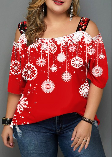 Plus Size Sequin Detail Snowflake Print T Shirt - 0X