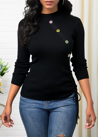 Button Detail Long Sleeve Drawstring Side Sweater - XL