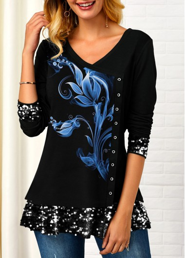 Sequin Detail Printed Inclined Button T Shirt - L