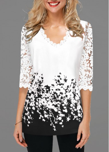 White V Neck 3/4 Sleeve Floral Print Lace Detail Contrast Panel Blouse - L