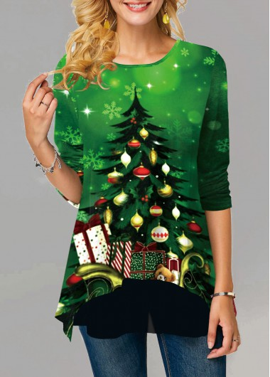 Christmas Print Round Neck Long Sleeve T Shirt - XXL
